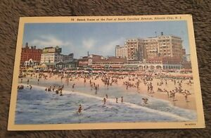 Vintage-Postcard-Unposted-Linen-79-Beach-Scene-SC-Atlantic-City-NJ
