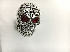 King Baby Large Skull Ring W/ Chosen Cross Details And Garnet Eyes Size 12