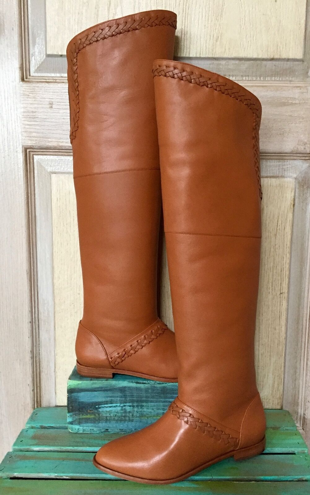 NIB Candela Candela Candela Cognac Leather Braided Pull On Over The Knee Boots 6 e7f244