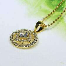 18K Yellow Gold Filled AAA CZ Women Necklace Round Pendant Fashion Jewelry P3135