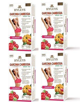 4 Packs Of Hyleys Green Tea Garcinia Cambogia Cranberry 100