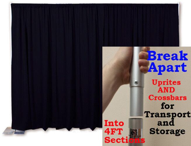 Portable Toile de Fond Kit 8 FT (environ 2.44 m) DE HAUT X 10 ft (environ 3.05 m) Large pipe et drapé (premier rideaux)