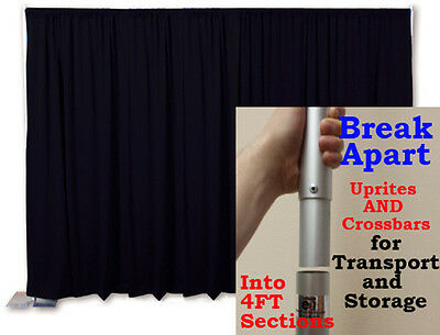 PORTABLE BACKDROP KIT 8 FT TALL x 10 FT WIDE PIPE AND DRAPE (PREMIER DRAPES)