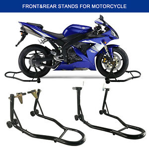 Heavy-Duty-Motorcycle-Bike-Front-amp-Rear-Stand-Motorbike-Lift-Paddock-Carrier