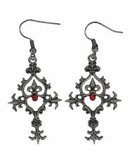 Renaissance Cross Red Stone Earrings Victorian Steampunk Punk Goth Gothic Silver