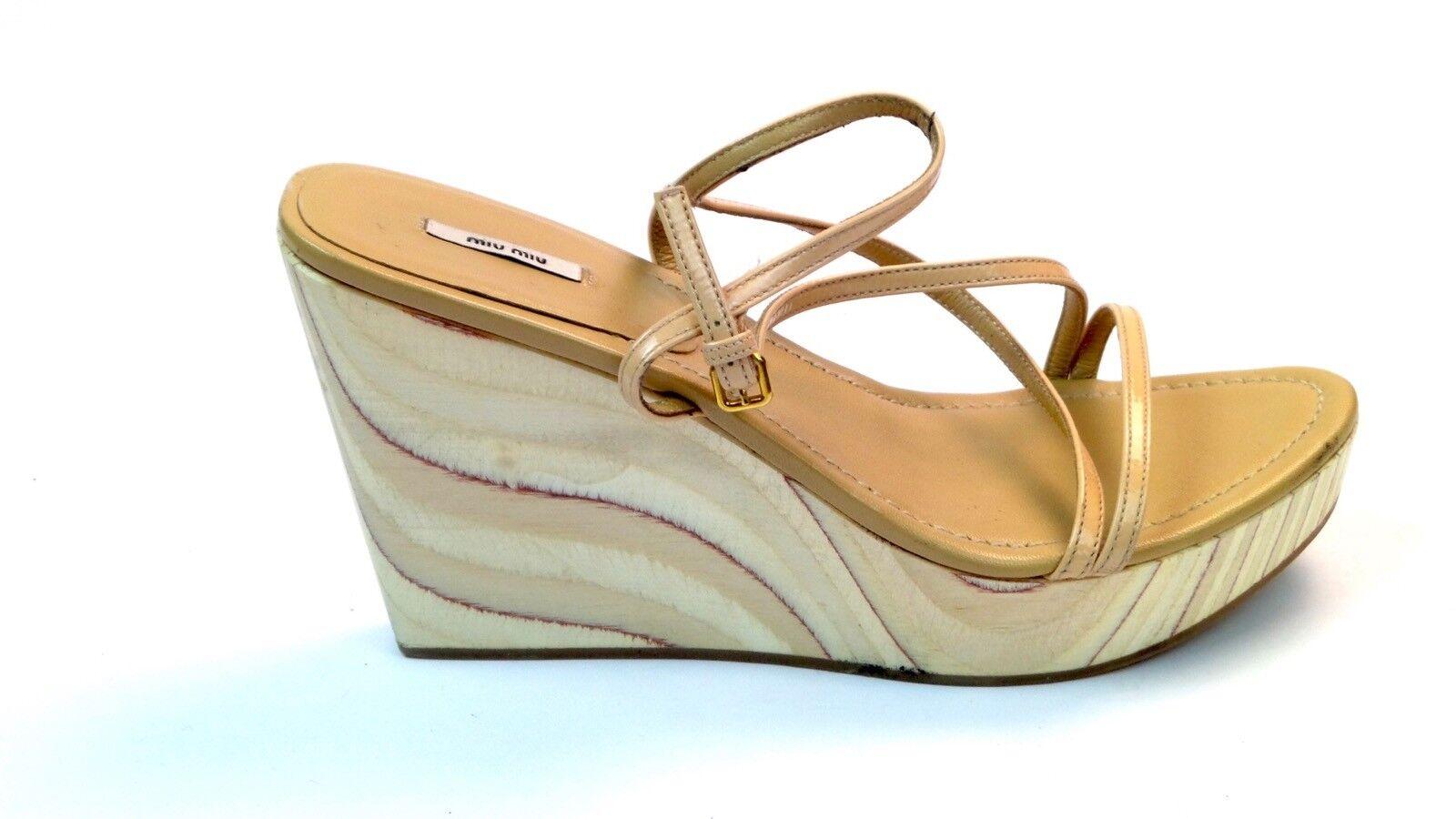 Miu Miu Miu Miu braun Leather Strappy Wooden Wedge Open Toe schuhe Sandals Größe 39.5 c18103