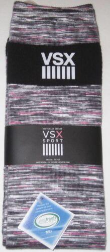 NWT VICTORIA/'S SECRET SPORT VSX PINK BLACK WHITE MARLED KNEE HIGH SOCKS O//S GYM