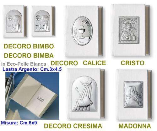 VANGELO COMUNIONE-CRESIMA CM.6x9 ECOPELLE BIANCA LASTRA BIMBA ARGENTO 925/% 10910