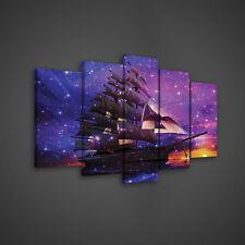 SET (5 teilig) CANVAS Leinwandbild Poster Schiff Abstraktion Himmel 3FX1664S17