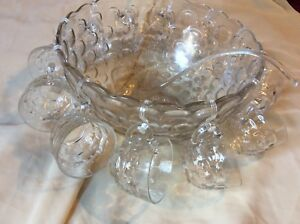 Vintage Punch Bowl Set With 12 Cups -Federal Glass Yorktown thumbprint Punch Set
