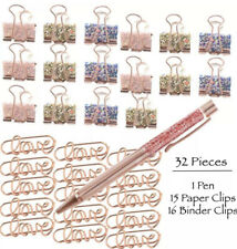 Love Paper Clips Binder Clamps Sequin Sequins Bling Pen Glitter Rose Gold Pink