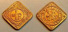 1 Franken 1915 Nebengebiete / Gent  offizielles Notgeld vergoldet prägefrisch