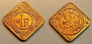 1 Franken 1915 Nebengebiete / Gent Offizielles Notgeld Vergoldet Prägefrisch Top Wassermelonen