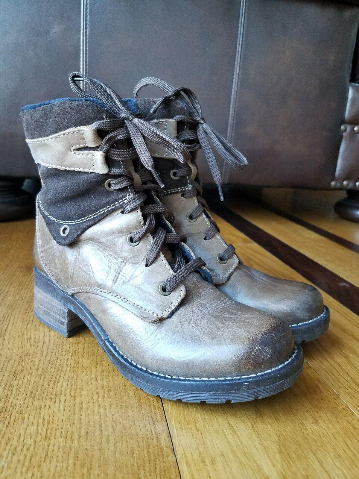 Dromedaris  Kara    Para mujeres Cuero Y Gamuza Marrón Tobillo botas de combate con cremallera lateral talla 37 8f560a