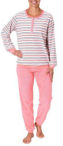 Damen Frottee Pyjama mit Bündchen /& Knopfleiste am Hals bis 60//62-28120193362