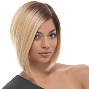 Vogue-Women-Brown-Golden-Ombre-Side-Parting-Short-Straight-Synthetic-Wig-Hair