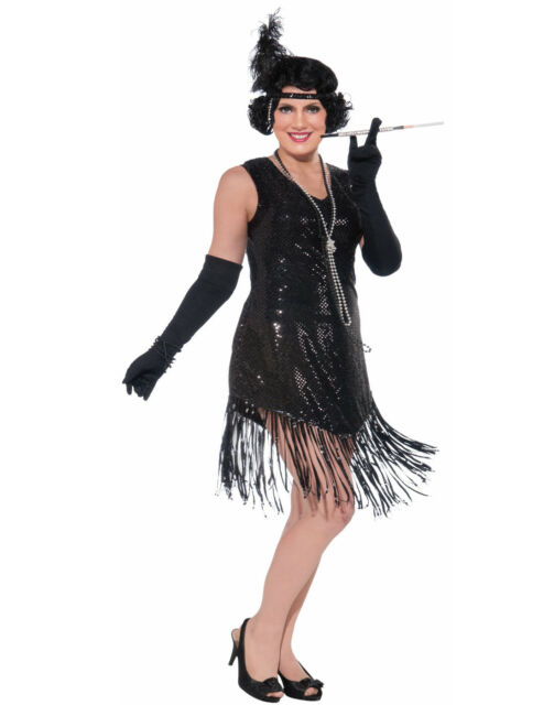 Womens Plus Size Swinging In Sequence Black Flapper Dress Costume