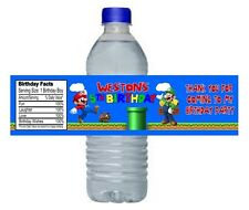 Super Mario Luigi Birthday Party Water Bottle Labels Favors Personalized Custom