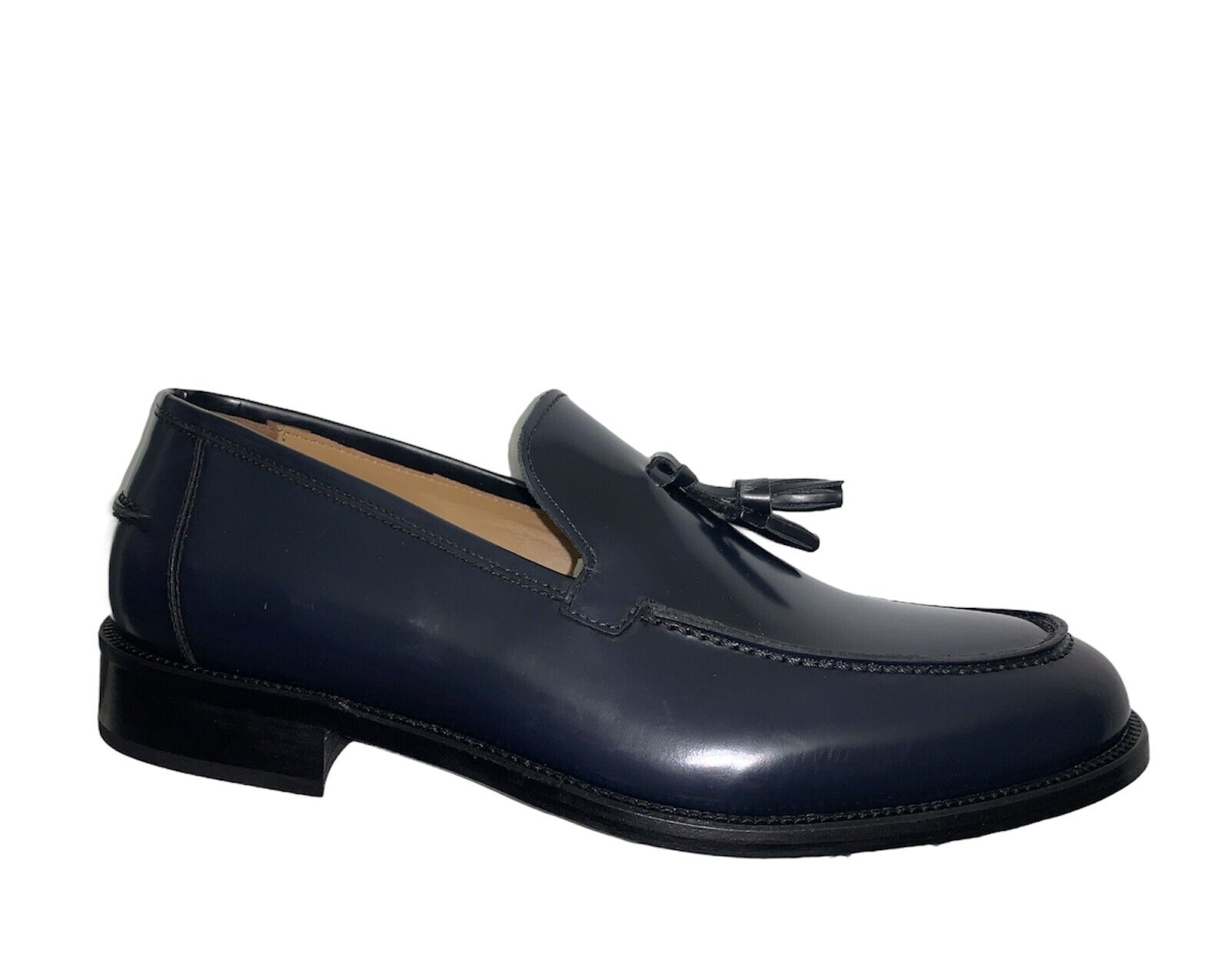 ROGAL'S Moccasin Elegant Man cerimonia Leather Blue Leather Pon - Made IN Italy