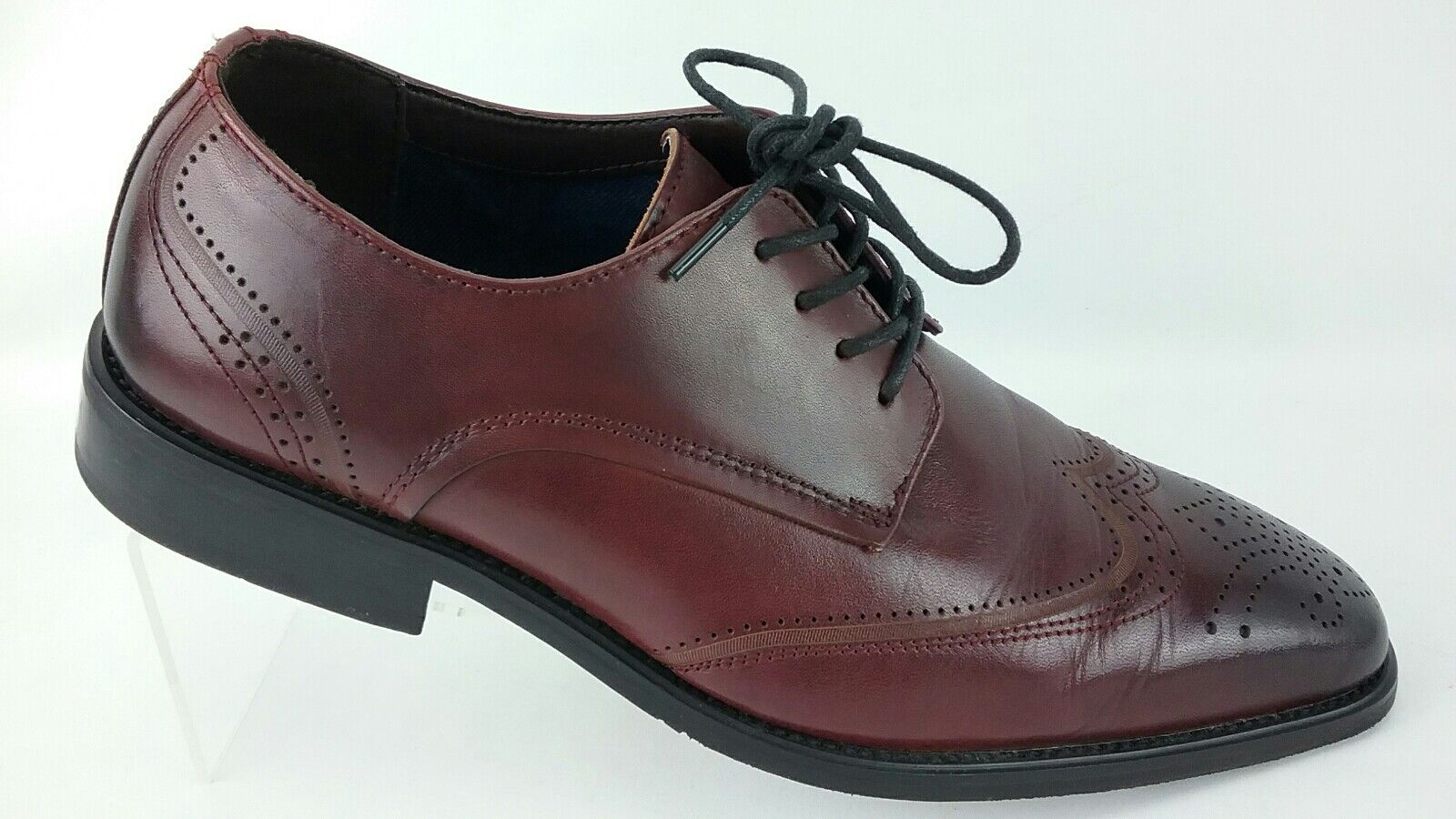 La Milano Men's Burgundy Leather Wing Tip Dress  shoes Size 10.5 Lace Ups R5S7