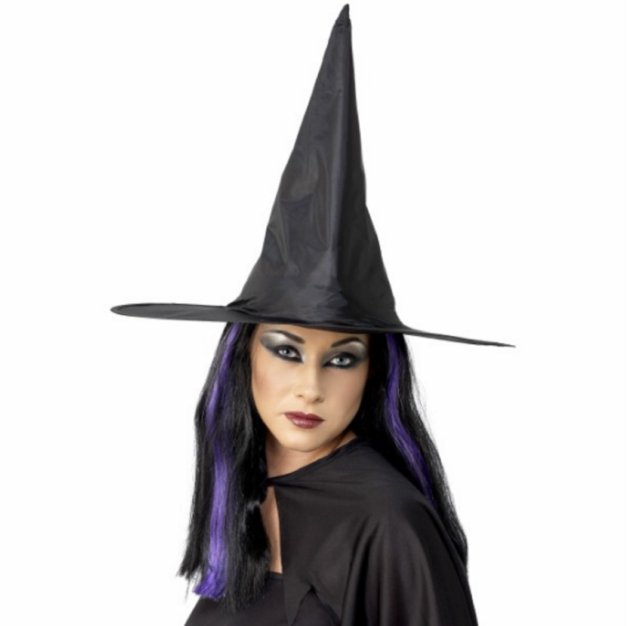 Adult Ladies Black Shiny Halloween Fancy Dress Witch Costume Hat