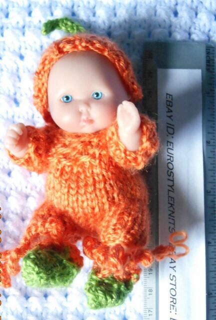 Doll Clothes Orange outfit for Berenguer baby  5""