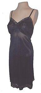 Vintage 1950s Full Slip, Vanity Fair, Black Lace Nylon 34