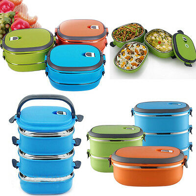 8c95eedf43b7 Thermal Insulated Bento Stainless Steel Food Container Lunch Boxes 1/2/3  Layers | eBay