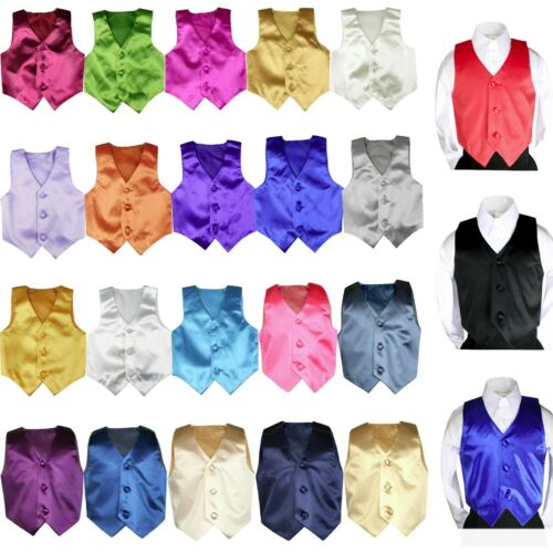 23 Color Satin Vest For Baby Boys Toddler Child Formal Party Tuxedos Suits 5-20