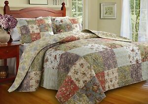 BEAUTIFUL OVERSIZED ANTIQUE BLUE IVORY GREEN YELLOW QUILT & SHAMS SET NEW - KING
