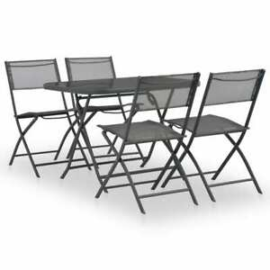 vidaXL-5-Piece-Folding-Outdoor-Dining-Set-Steel-and-Textilene-Grey
