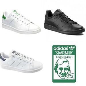ADIDAS-Originals-Da-Uomo-Stan-Smith-Scarpe-Da-Ginnastica-Con-Lacci-Scarpe-Casual-Nero-Bianco-Taglia
