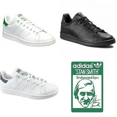 check out e4c6d fff8b Adidas Originals Mens Stan Smith Trainers Lace up Casual Shoes Black White  Size | eBay