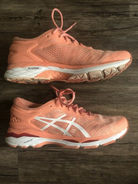 ASICS Gel Kayano 24 Womens Running Shoes Sneakers Peach White Size 11 T799N
