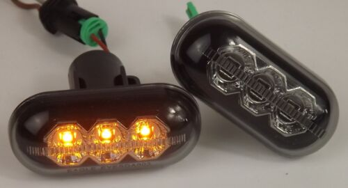 Pair LED Side Repeater Indicator Round Smoke Black For Renault Master X70 98-03