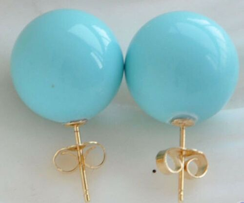 Style 12 mm Turquoise circulaire South Sea Shell Pearl Stud Earring Y4389