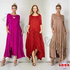 Womens 3/4 Sleeve Round Neck Hi Low Asymmetrical Hem Flared Maxi Dress USA Plus