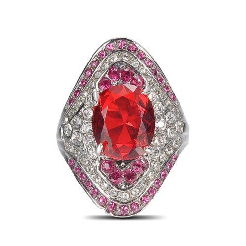 Fashion Women Red Sapphire Rhinestone Wedding Engagement Ring Jewelry