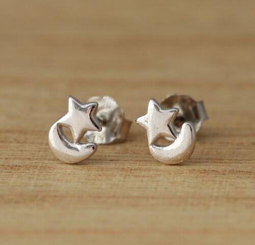 925 Sterling Silver Moon and Star Stud Earrings Plain Stylish Jewellery