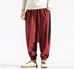 Summer Mens Chinese Style Harem Pants Loose Fit Printed Saggy Trousers Slacks B