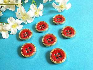 COUTURE SCRAPBOOKING 10 BOUTONS RONDS FANTAISIES ACRYLIQUE ROUGE 13x2mm