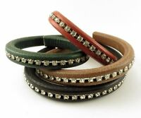 Licorice Leather Genuine Real Cord 10 X 7 Mm With Crystals 20 Or 25 Cm