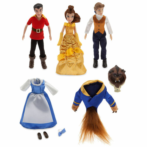 Disney Store Beauty & the Beast Mini Doll 4pc Set Belle Prince & Gaston NIB