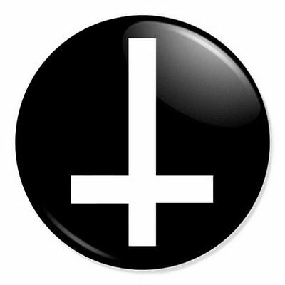 """Inverted Cross 25mm 1"""" Pin Badge Button Anti Christ Indie Goth - Various Sizes"""