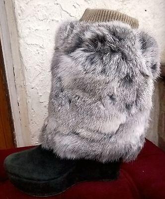 Gris Blanco Real Piel de conejo genuina Piel Zapatos Botas calentador de la pierna Cubierta Topper