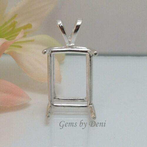 Sterling Silver Emerald Cast Wire Pre-Notched Pendant Setting 5x3mm- 30x22mm