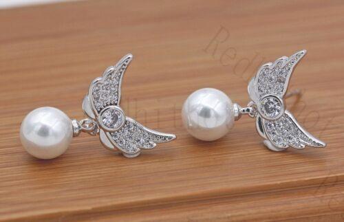 18K or blanc rempli-Ailes d/'Ange Perle Goutte Zircon Mariage Stud Gems Boucles d/'oreilles