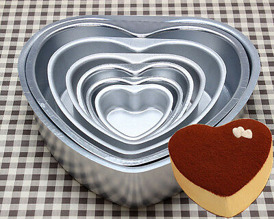 7 Sizes Heart Shape Cake Decorating Aluminum Tins Pan Baking Birthday new Tools
