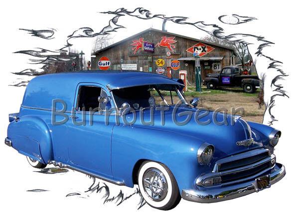 1952 Blau Chevy Sedan Delivery Custom Hot Rod Garage T-Shirt 52 Muscle Car Tees