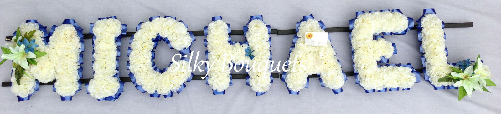 Artificial Silk Funeral Flower Any Name 7 Letters Personalised Wreath Tribute